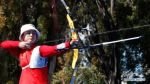 Zhang Mengyao of China competes during Archery Women's Recurve Individual Semifinal